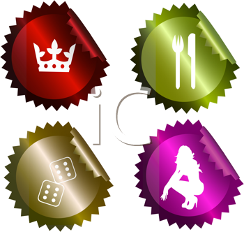 Royalty Free Clipart Image of Four Stickers With Casino Related Graphics
