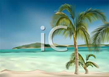 Royalty Free Clipart Image of a Beach With Palm Trees