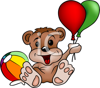 Royalty Free Clipart Image of a Bear With Balloons and a Ball