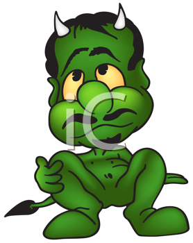 Royalty Free Clipart Image of a Green Devil