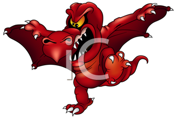 Royalty Free Clipart Image of a Red Dragon