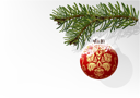 Royalty Free Clipart Image of an Ornament Hanging From a Spruce Branch