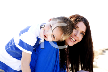 Royalty Free Photo of a Mom and Son on the Beach