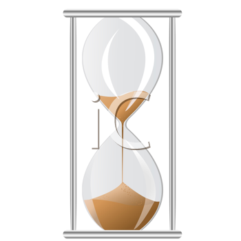 Royalty Free Clipart Image of an Hourglass With Sand Running Through