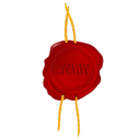 Royalty Free Clipart Image of a Wax Seal With the Word Start