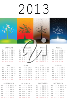 2013 Calendar with tree in all the seasons
