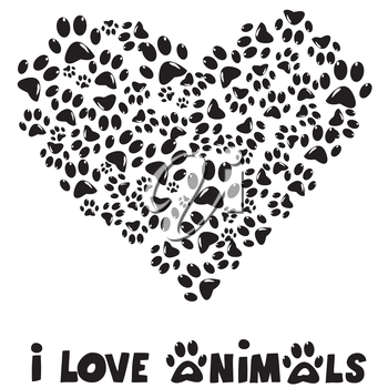 I love animals card with paws prints