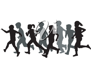 Children silhouettes running on white background
