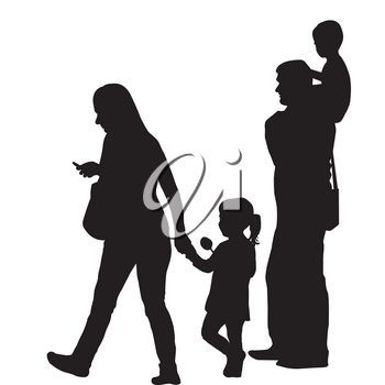 Modern family silhouette with two children