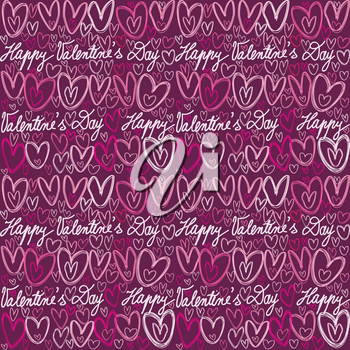Colorful doodle hearts and handwritten lettering seamless pattern for Valentines Day