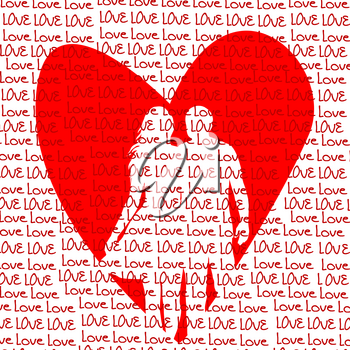 Love concept with heart and lovers couple