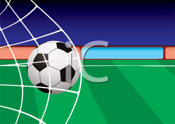 Royalty Free Clipart Image of a Soccer Ball in the Net on a Field