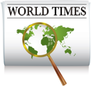 Royalty Free Clipart Image of a Newspaper With a World Map and a Magnifying Glass