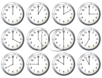 Royalty Free Clipart Image of a Number of Clocks