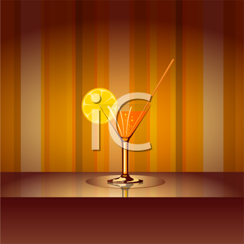 Royalty Free Clipart Image of a Cocktail on a Table Against a Striped Background