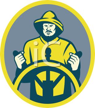 Royalty Free Clipart Image of a Fishing Boat Captain at the Wheel