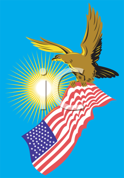 Royalty Free Clipart Image of an American Eagle With a United States Flag
