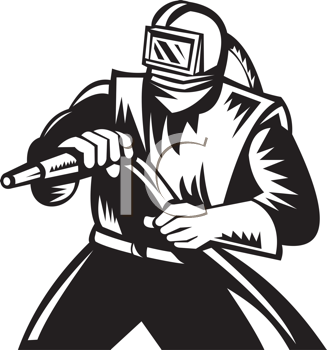 Royalty Free Clipart Image of a Sandblaster