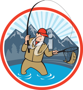 Illustration of a fly fisherman with fly rod and reel reeling and netting up a trout fish set inside circle with lake, trees and mountain in background done in cartoon style.