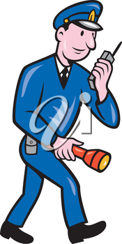 Illustration of a policeman police officer walking holding torch and talking on radio   set on isolated white background done in cartoon style.