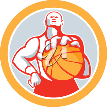 Illustration of a basketball player with ball facing front set inside circle on isolated white background done in retro style.