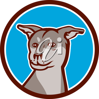 Illustration of a Siberian Husky Chinese Shar Pei cross breed dog head set inside circle on white background done in cartoon style.