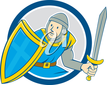 Illustration of medieval knight in full armor with sword and shield set inside circle  on isolated background done in cartoon style.