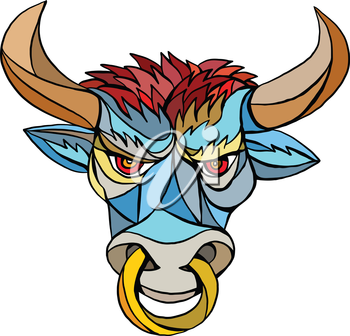 Mosaic style illustration of an angry raging bull head facing front set on isolated white background.