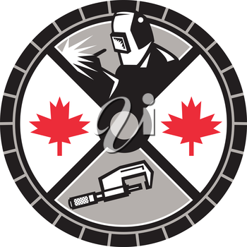 Illustration of a welder welding, caliper and Canada maple leaf set inside circle done in retro style.