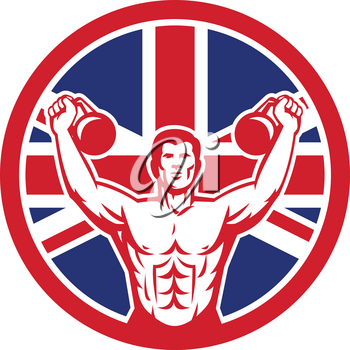 Icon retro style illustration of a British physical fitness buff training with kettlebell  and United Kingdom UK, Great Britain Union Jack flag set inside circle on isolated background.