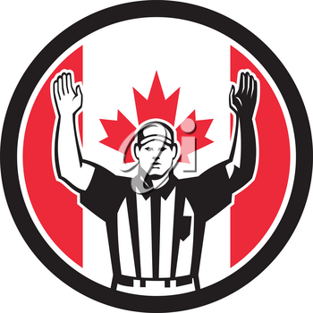 Icon retro style illustration of a Canadian football referee,head linesman, down judge or line judge calling a touchdown with Canada maple leaf flag set inside circle on isolated background.