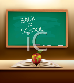 Royalty Free Clipart Image of a Back to School Blackboard