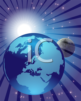 Royalty Free Clipart Image of the Moon Earth and Sun