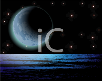 Royalty Free Clipart Image of a Night Sky From the Moon