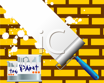 Royalty Free Clipart Image of a Roller Over a Brick Wall