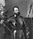 Francesco Maria I della Rovere (1490-1538) on copper engraving from 1841. Italian mercenary warlord and Duke of Urbino during 1508-1538. Engraved by J.Andrews from a drawing by G.Turbino after a paint