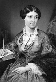 Harriet Martineau (1802-1876) on engraving from 1873. English social theorist and Whig writer. Engraved after a painting by A.Chappel and published in The Masterpiece Library of Short Stories'',USA,1