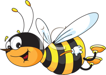 Royalty Free Clipart Image of a Smiling Bee
