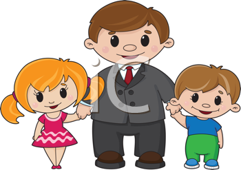 Royalty Free Clipart Image of a Father and Children