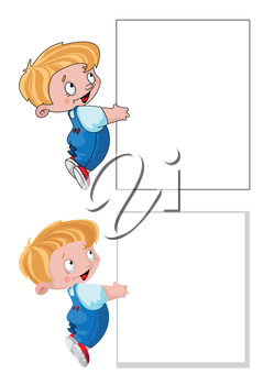 illustration of a little boy and banner