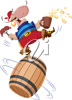 illustration of a pirate on a barrel