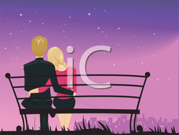 Royalty Free Clipart Image of a Couple Cuddling on a Bench at Night