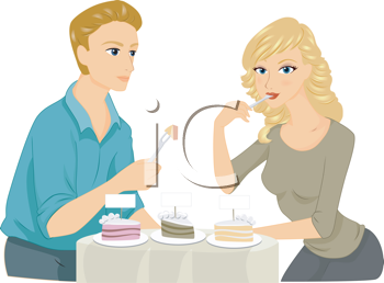 Royalty Free Clipart Image of a Couple Tasting Take