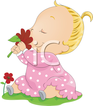 Royalty Free Clipart Image of a Baby Smelling a Flower