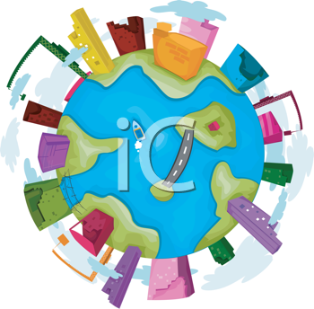 Royalty Free Clipart Image of a Globe With Industry Around It