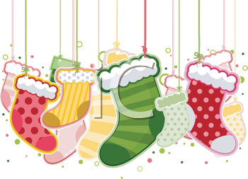 Royalty Free Clipart Image of Hanging Christmas Stockings