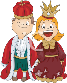 Royalty Free Clipart Image of a Boy and Girl Dressed as a King and Queen