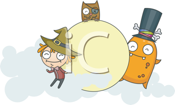 Royalty Free Clipart Image of a Witch, Monster and Owl Playing Around a Moon