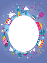 Royalty Free Clipart Image of an Amusement Park Themed Frame