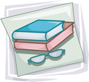 Royalty Free Clipart Image of Books and Eyeglasses
